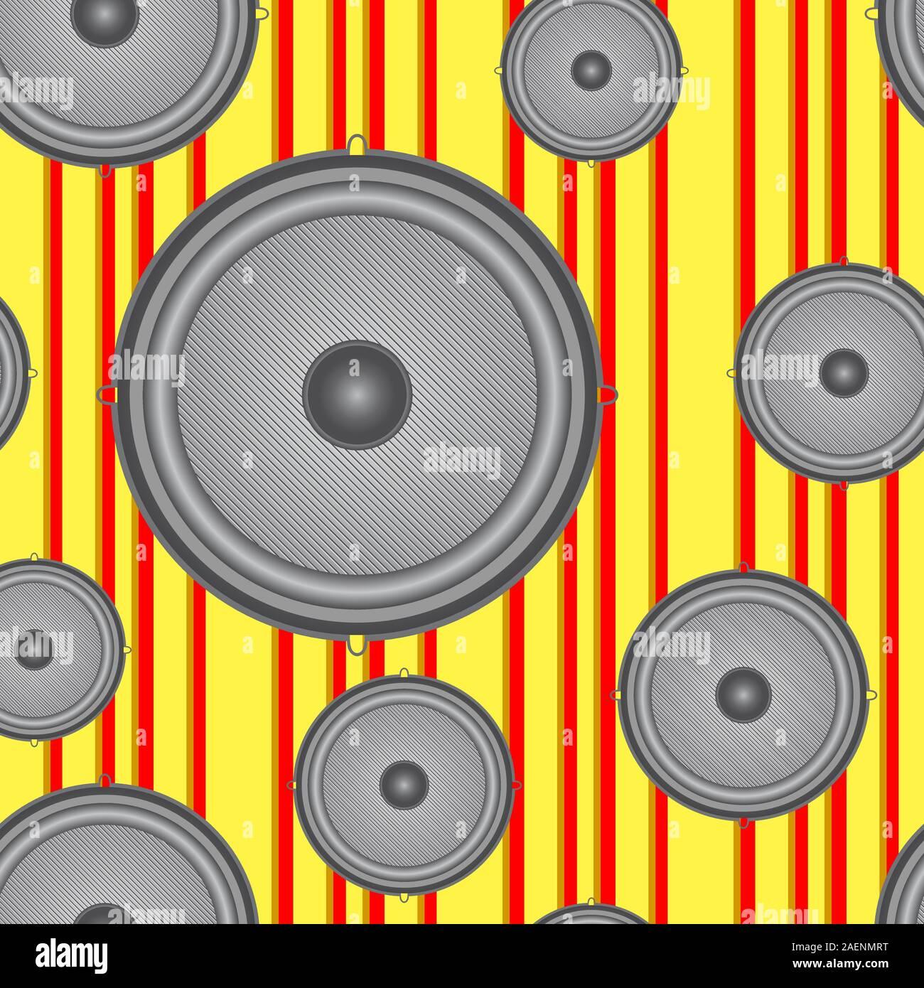 Speakers seamless background. Vector illustration. Stock Vector