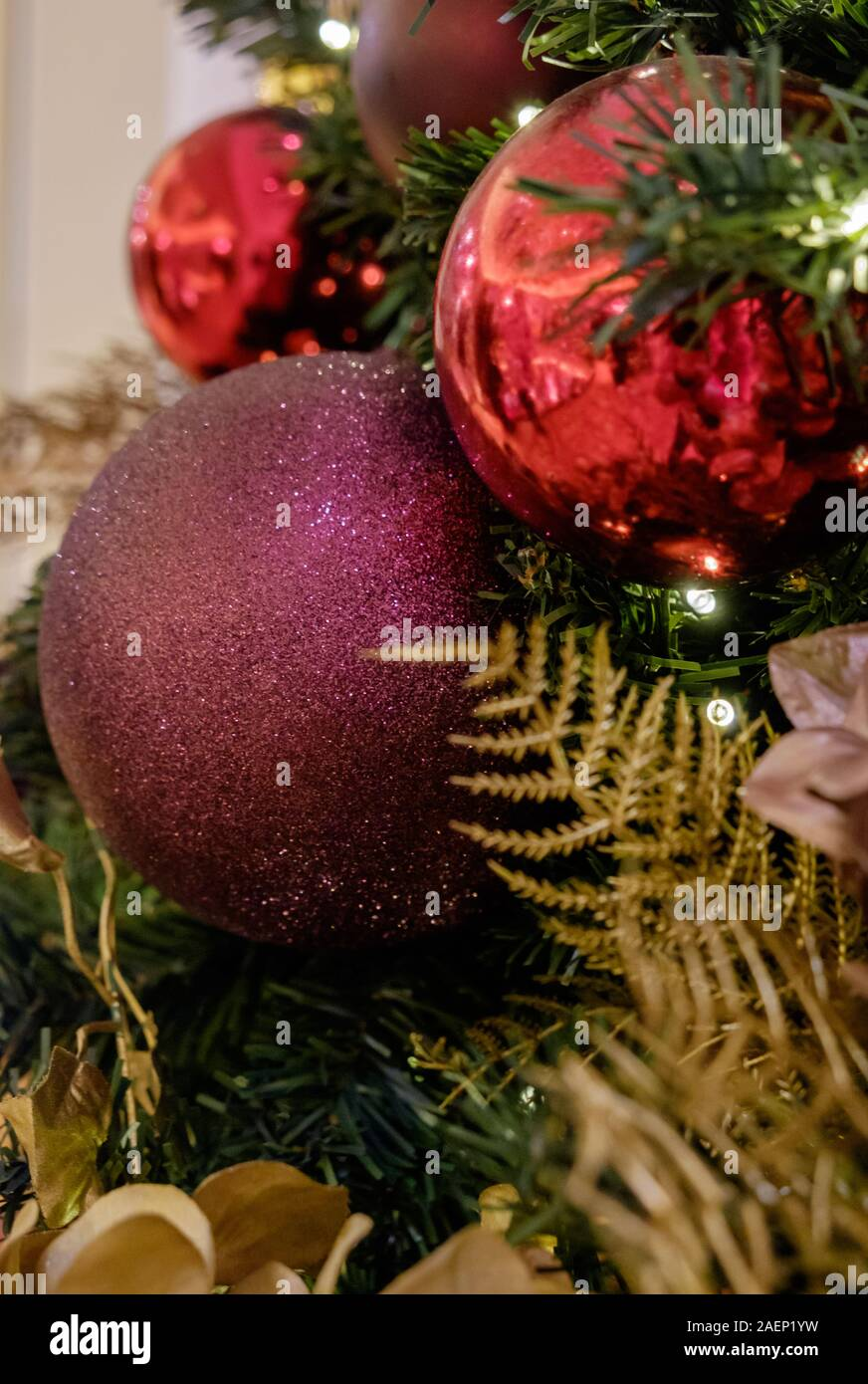 Close Up Of Christmas Tree With Colourful Red Purple And Gold Baubles And Decorations Stock Photo Alamy