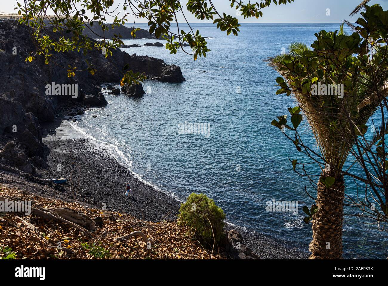 Small secluded stony beach in Alcala on the west coast of Tenerife, Canary Islands, Spain Stock Photo