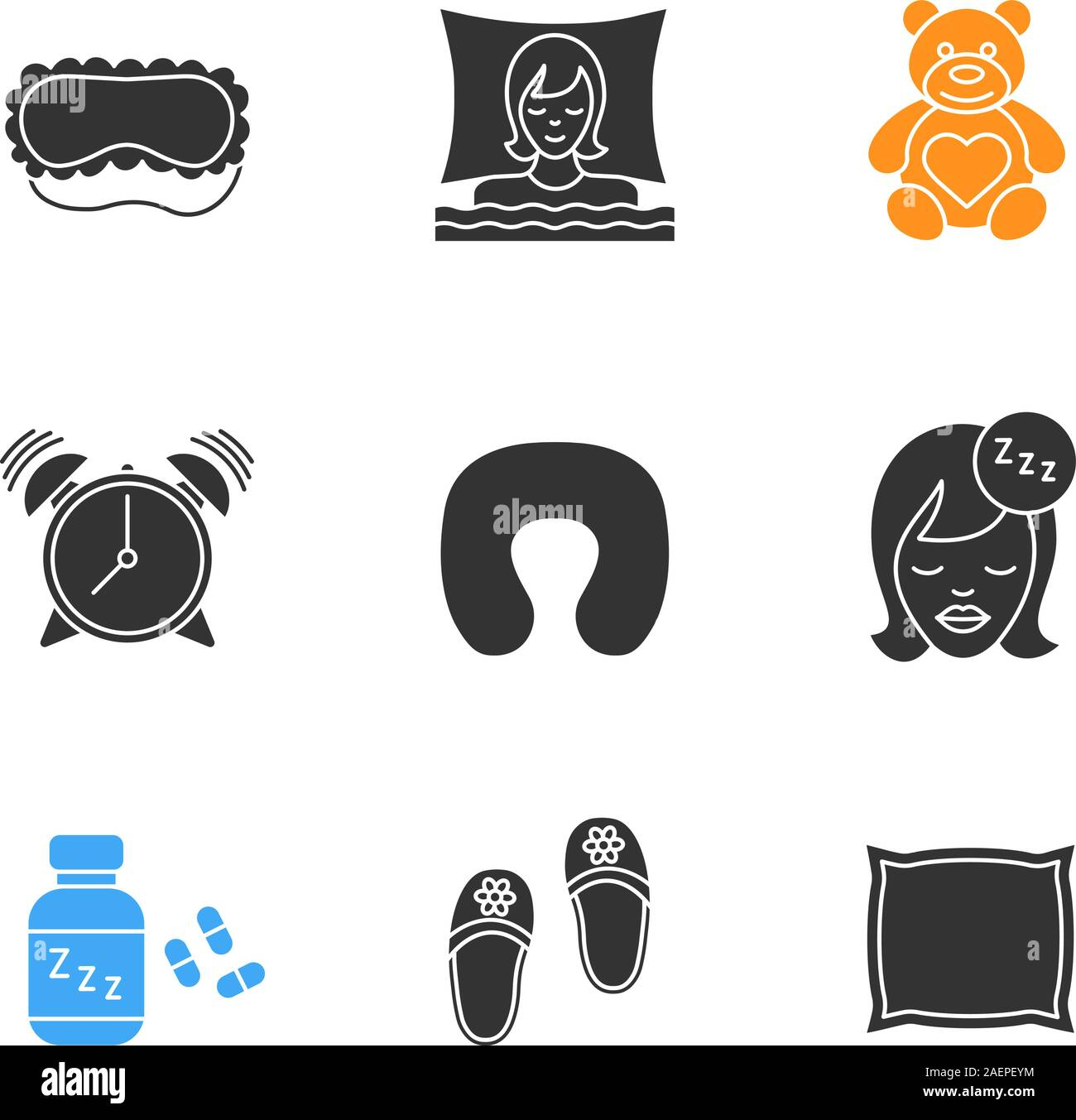 Sleeping Accessories Glyph Icons Set Sleeping Women Mask Teddy Bear Alarm Clock Pillows Soporific Bedroom Slippers Silhouette Symbols Vector Stock Vector Image Art Alamy