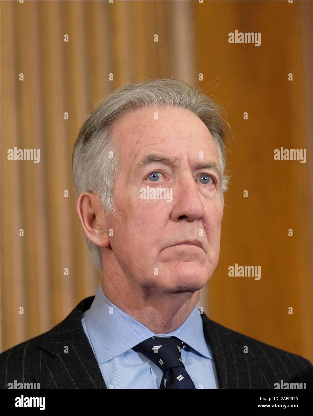 Washington DC, USA. 10th Dec, 2019. United States Representative Richard Neal (Democrat of Massachusetts), listens at a news conference laying out articles of impeachment for President Donald J. Trump, on Capitol Hill in Washington, DC on Tuesday, December 10, 2019. Credit: dpa picture alliance/Alamy Live News Stock Photo