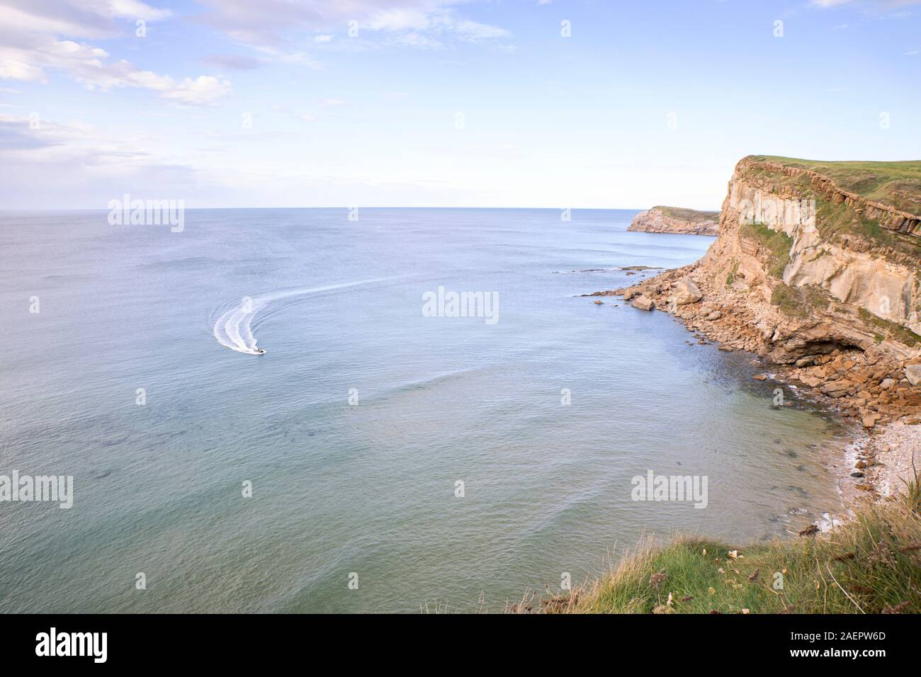 Steep coast at sunset on the northern coast of Spain. concept tourism and nature Stock Photo