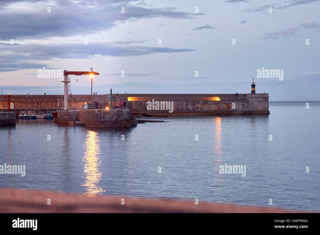 Night view of a fishing port in the north of Spain. concept tourism and night Stock Photo