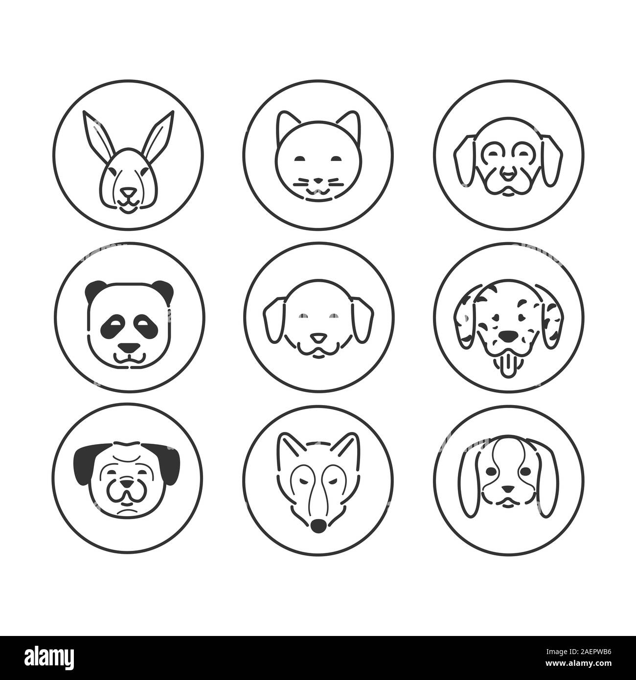 Set of animals head icons. Modern icons design, mono color symbol. Contains Rabbit, dogs, cat, fox, panda. vector line pictocgram. Stock Vector