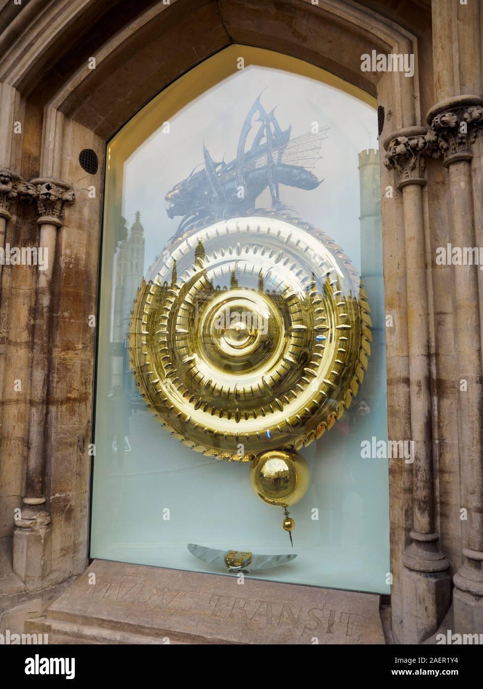 Corpus Christi Grasshopper Clock, Kings Parade, Cambridge UK Stock Photo