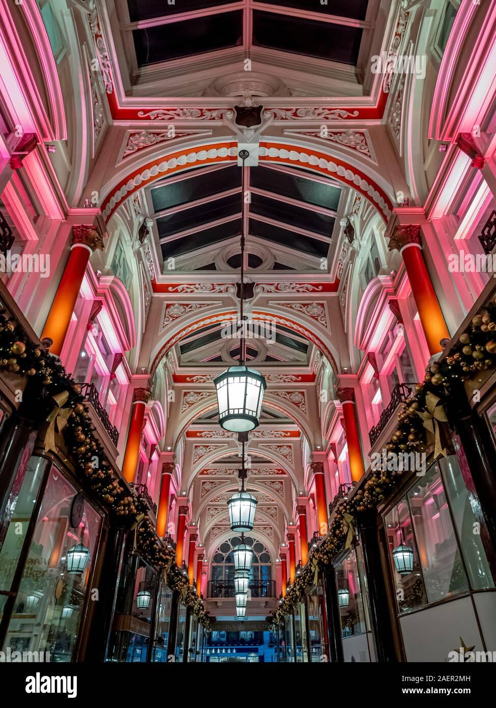 The Royal Arcade at Christmas, New Bond Street, London, UK. Stock Photo