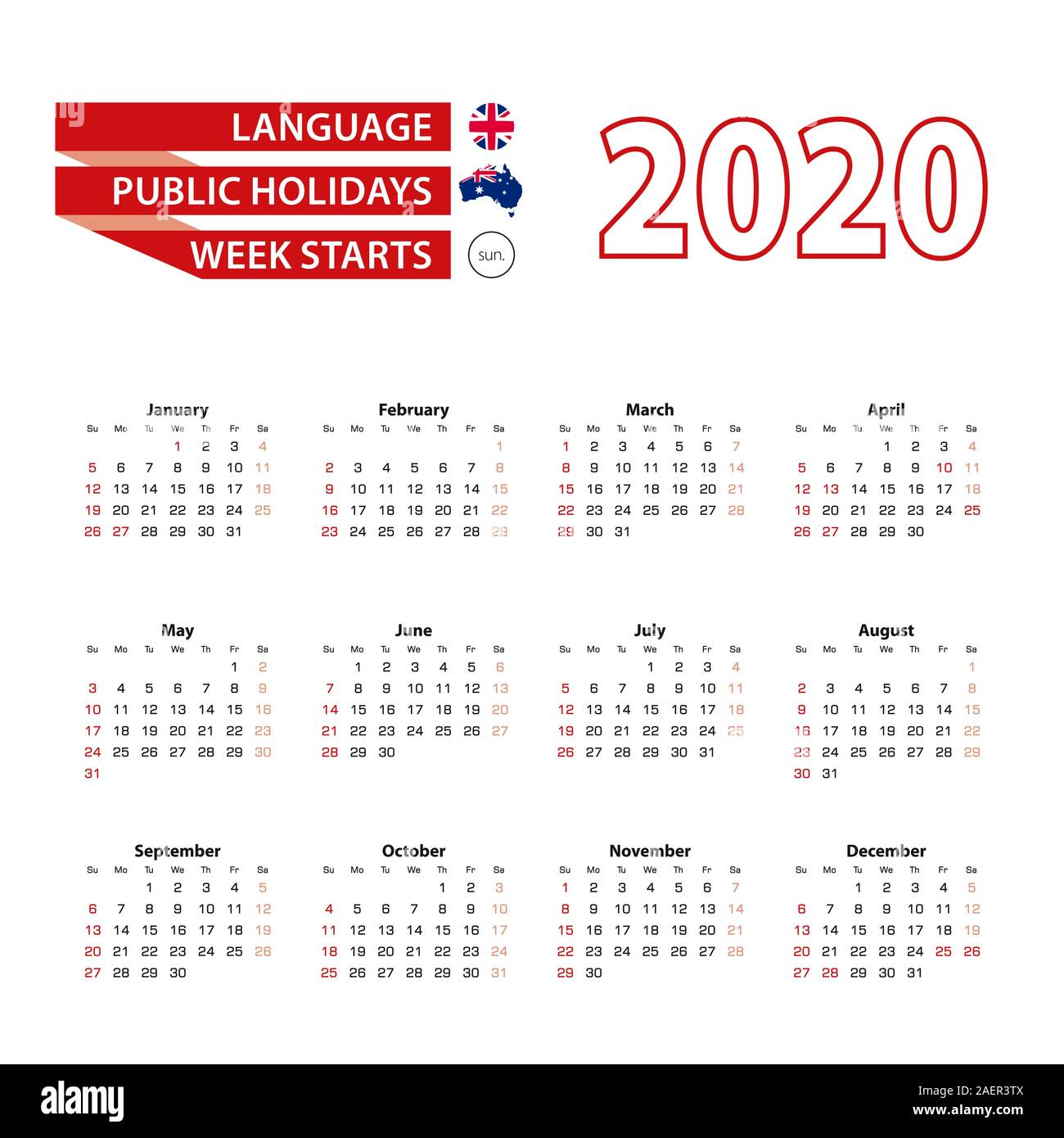 Calendar 2020 In English Language With Public Holidays The Country Of Australia In Year 2020 Week Starts From Sunday Vector Illustration Stock Vector Image Art Alamy
