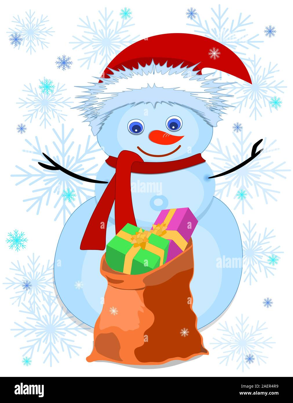 Snowman. Bag of gifts. Snowflakes. White. vector Stock Vector