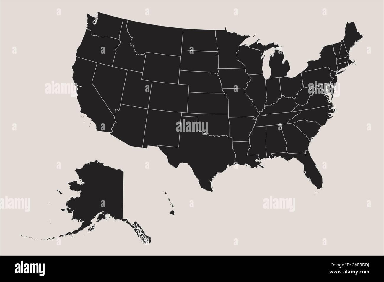 USA map mainland with alaska and hawaii business concept ...