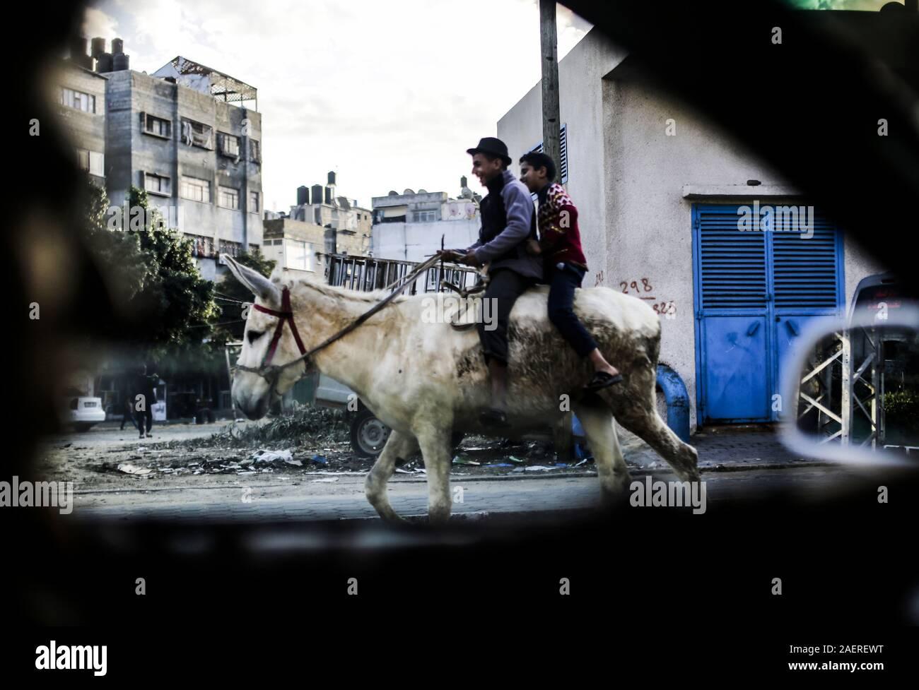 Gaza City, The Gaza Strip, Palestine. 10th Dec, 2019. Palestinian children ride on a donkey in Gaza City on December 10, 2019 Credit: Mahmoud Issa/Quds Net News/ZUMA Wire/Alamy Live News Stock Photo