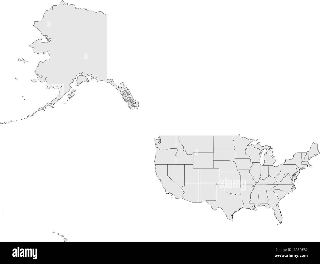 Us Map With Alaska And Hawaii United States Map Alaska And Hawaii High Resolution Stock