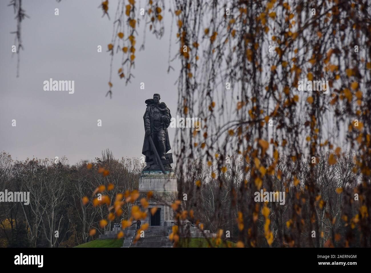 Soviet War Memorial in Treptower Park, Berlin in the Autumn Stock Photo