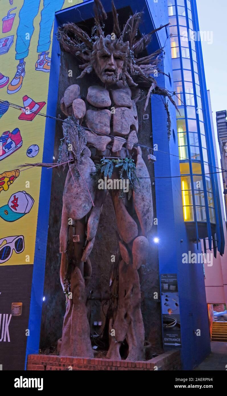 Green Man statue at the Custard Factory,Gibb St,Digbeth,Bordesley & Highgate,Birmingham,West Midlands,England,UK,B5 5ST Stock Photo