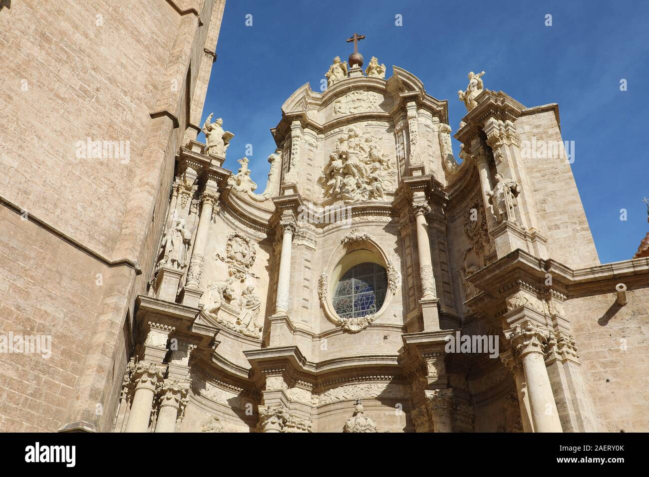 Saint Mary Cathedral detail in Valencia, Spain. Baroque style architecture. Stock Photo