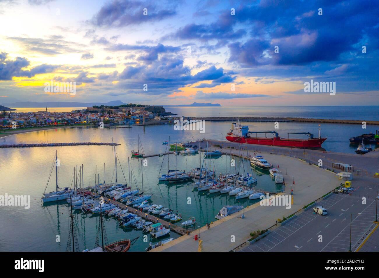 Rethimno city with the fortress of Fortezza, Crete, Greece. Stock Photo