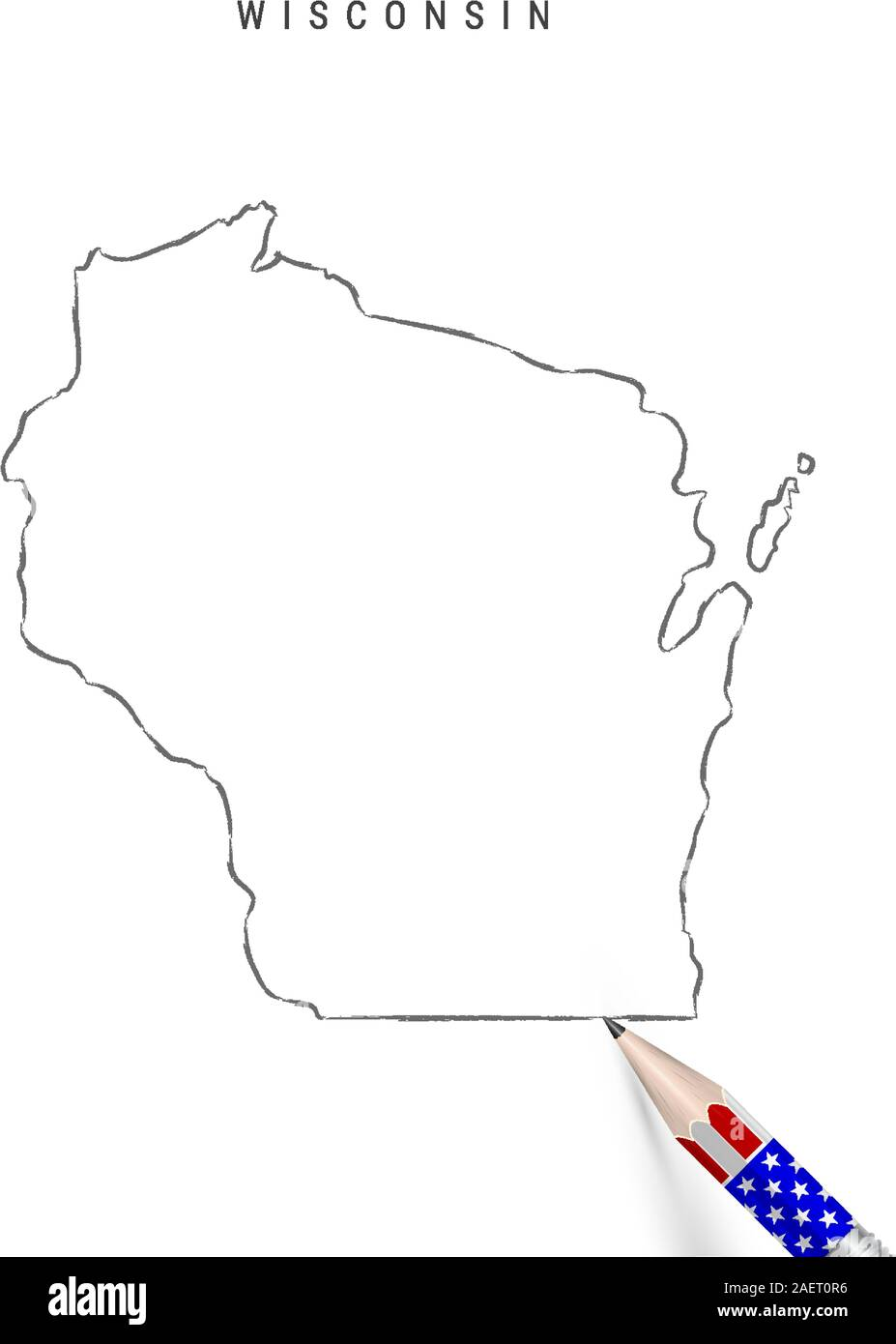 Wisconsin US state vector map pencil sketch. Wisconsin ...