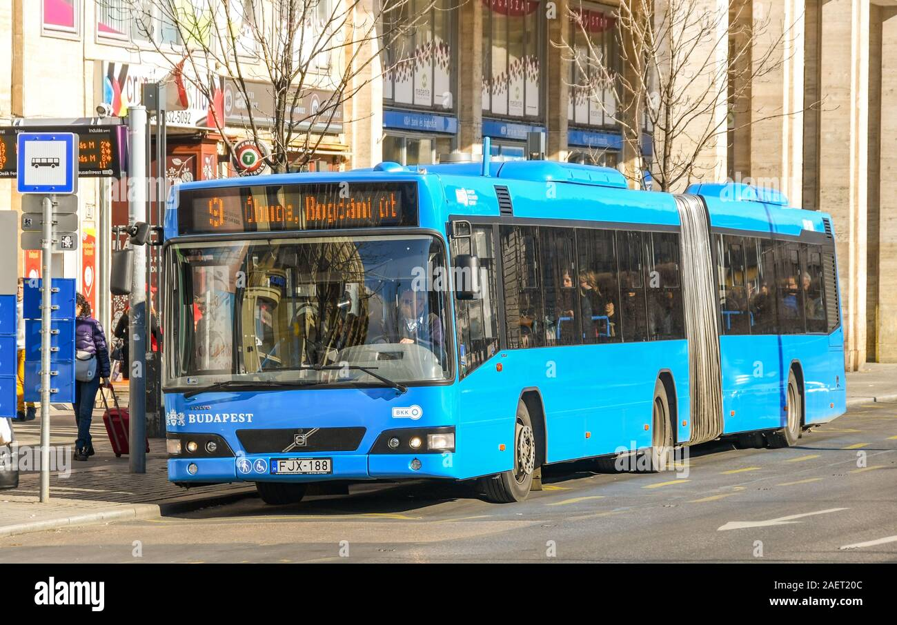 BUDAPEST, HUNGARY - MARCH 2019: Public services bus at a stop in Budapest city centre Stock Photo