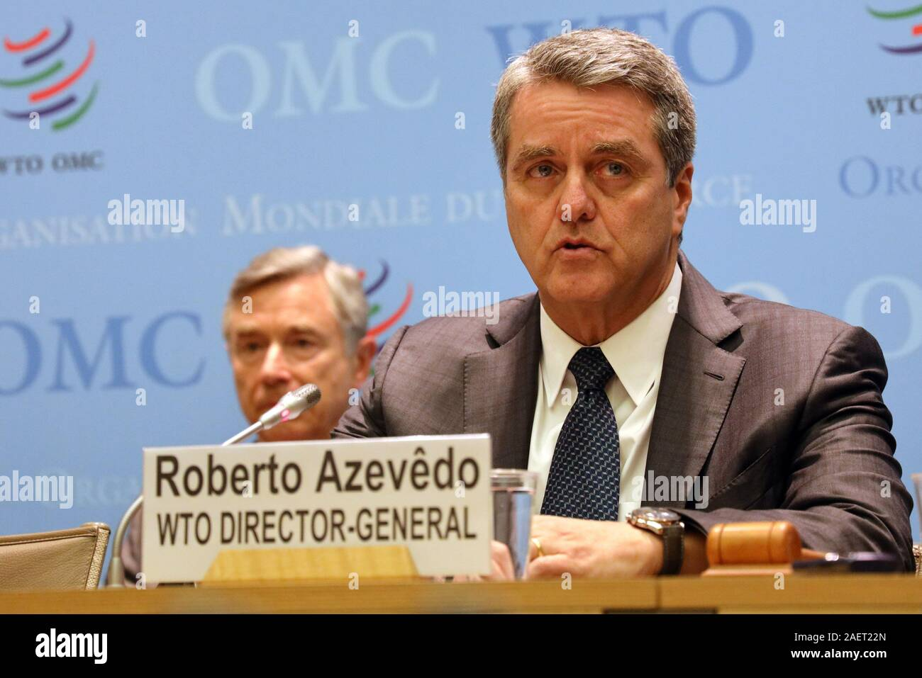 Geneva, Switzerland. 10th Dec, 2019. World Trade Organization (WTO) Director-General Roberto Azevedo (Front) speaks at a press conference after a two-day meeting of the WTO's General Council in Geneva, Switzerland, on Dec. 10, 2019. Roberto Azevedo said here Tuesday that as of Wednesday, the Appellate Body would be unable to hear new appeals. Credit: Peter Kenny/Xinhua/Alamy Live News Stock Photo