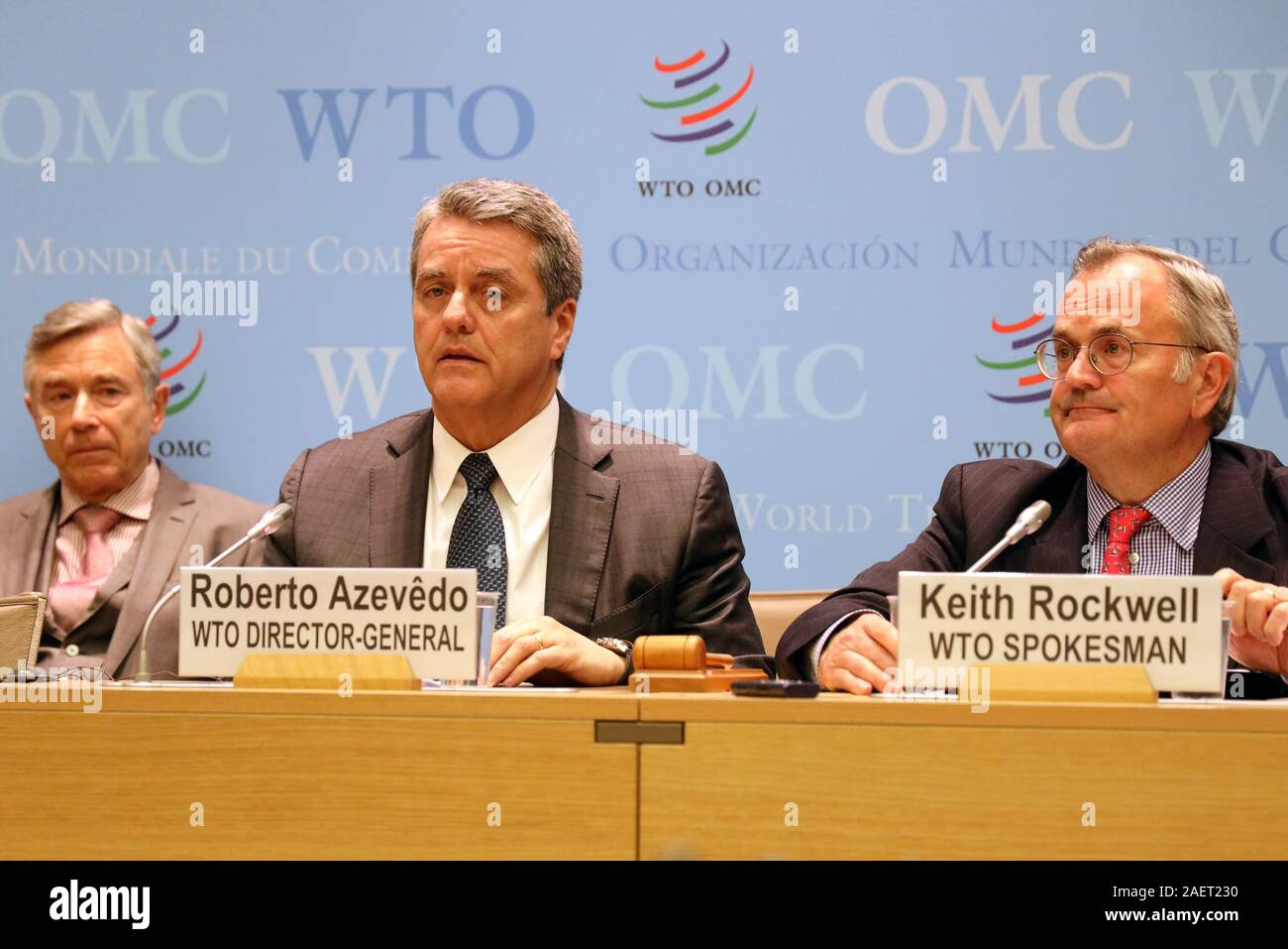 Geneva, Switzerland. 10th Dec, 2019. World Trade Organization (WTO) Director-General Roberto Azevedo (C) speaks at a press conference after a two-day meeting of the WTO's General Council in Geneva, Switzerland, on Dec. 10, 2019. Roberto Azevedo said here Tuesday that as of Wednesday, the Appellate Body would be unable to hear new appeals. Credit: Peter Kenny/Xinhua/Alamy Live News Stock Photo