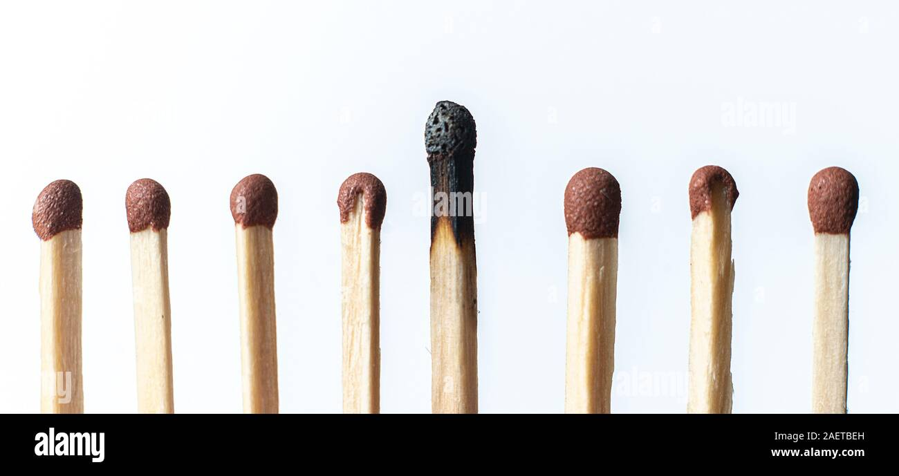 single unique wooden match among the other regular ones, the teamwork idea Stock Photo