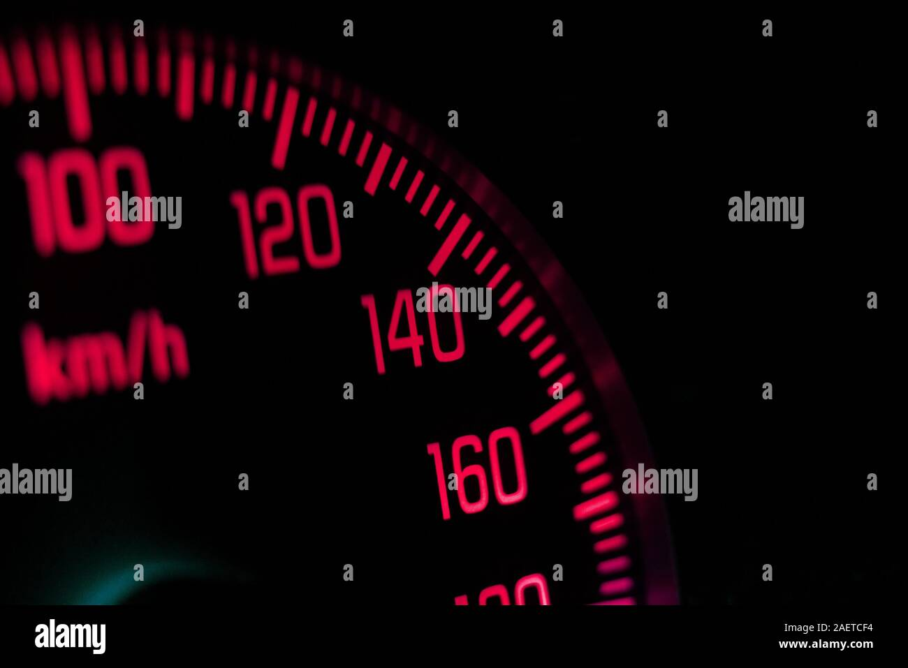 a macro view of the speedometer in the vehicle with numbers and scale Stock Photo