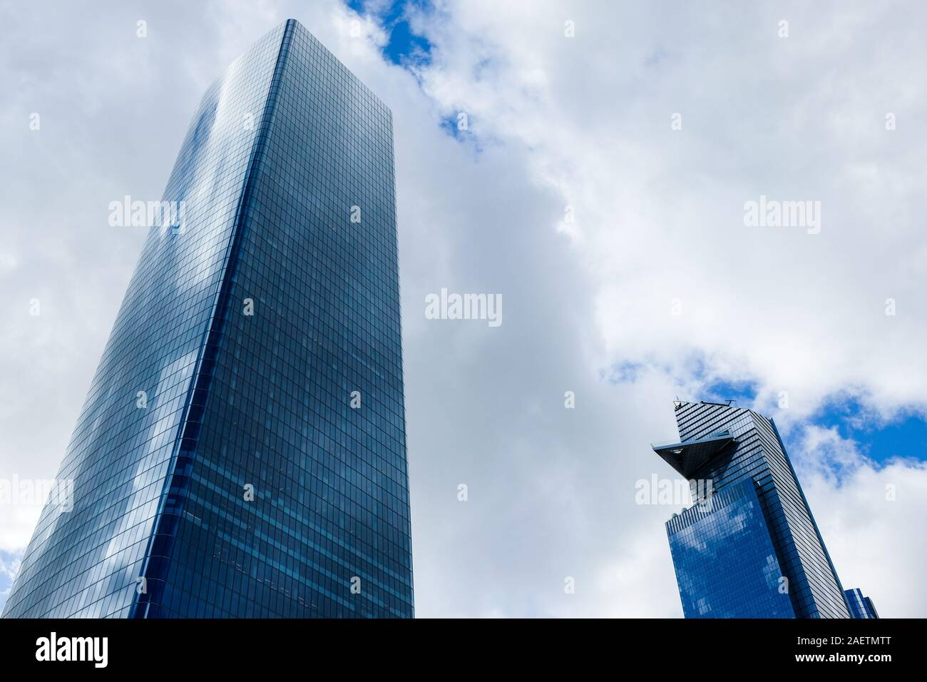 New Hudson Yards skyscrapers: One Manhattan West (left) and 30 Hudson Yards (right). Stock Photo