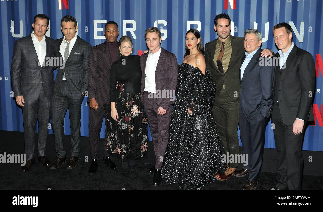 New York, USA. 10th Dec, 2019. L-R: Netflix exec Scott Stuber, actors Ryan Reynolds, Corey Hawkins, Melanie Laurent, Ben Hardy, Adria Arjona and Manuel Garcia-Rulfo, Netflix exec Ted Sarandos and producer David Ellison attend the NY premiere of 6 Underground at The Shed at Hudson Yards in New York, NY on December 10, 2019. (Photo by Stephen Smith/SIPA USA) Credit: Sipa USA/Alamy Live News Stock Photo