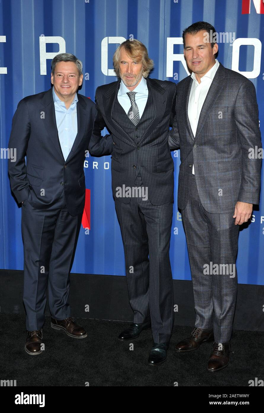 New York, USA. 10th Dec, 2019. L-R: Netflix exec Ted Sarandos, director Michael Bay and Netflix exec Scott Stuber attend the NY premiere of 6 Underground at The Shed at Hudson Yards in New York, NY on December 10, 2019. (Photo by Stephen Smith/SIPA USA) Credit: Sipa USA/Alamy Live News Stock Photo