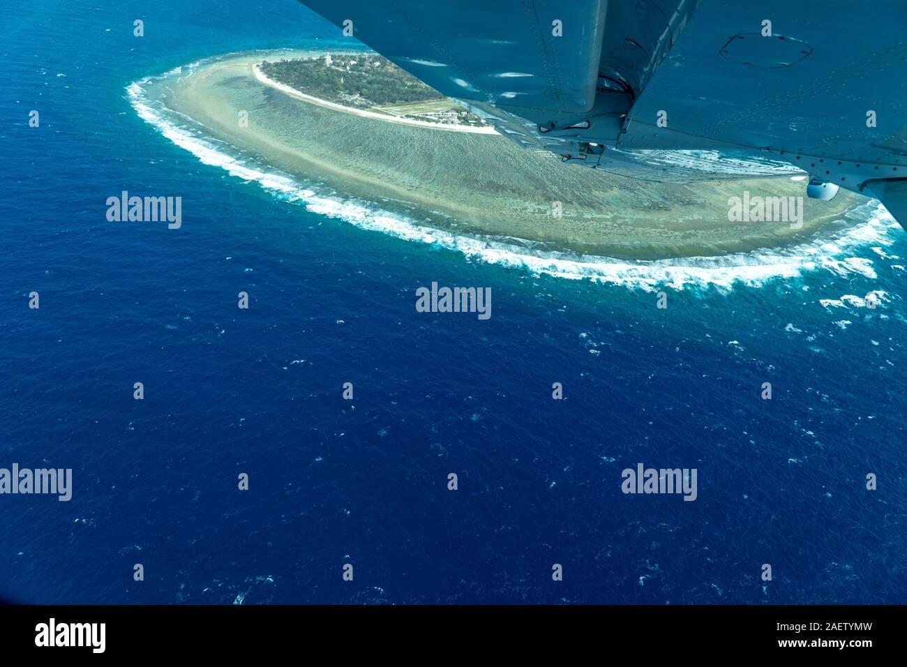 Aerial view of Lady Elliot Island in Queensland, Australia. Stock Photo