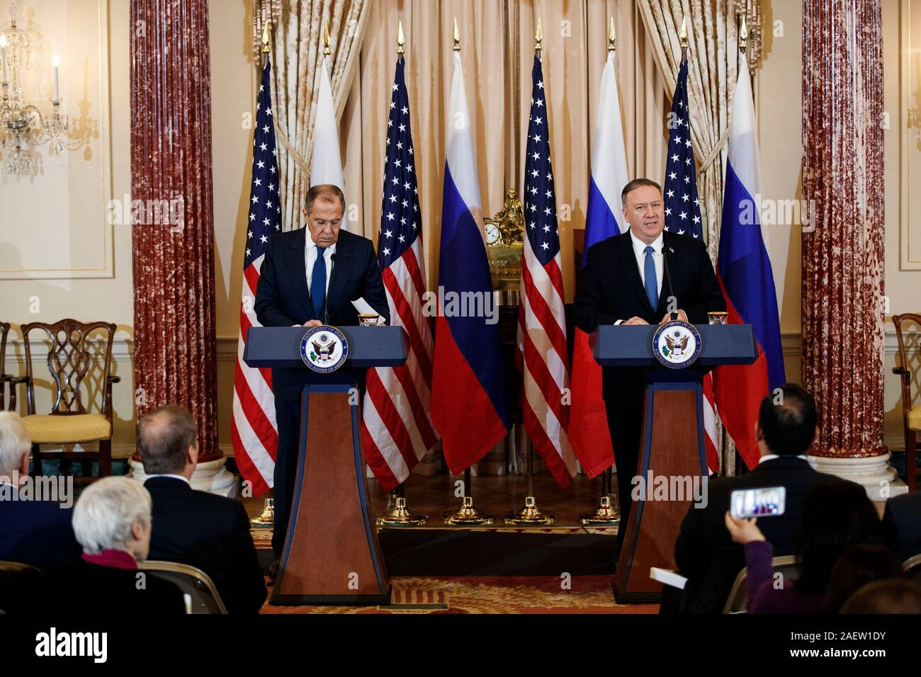 Washington, DC, USA. 10th Dec, 2019. U.S. Secretary of State Mike Pompeo (R) and Russian Foreign Minister Sergey Lavrov hold a joint press conference in Washington, DC Dec. 10, 2019. Credit: Ting Shen/Xinhua/Alamy Live News Stock Photo