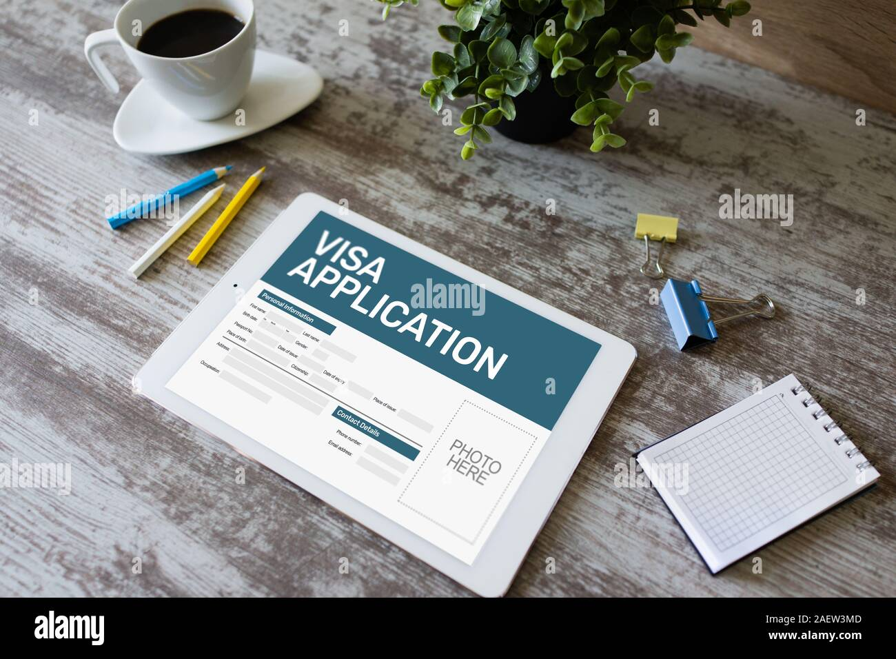 Online Visa Application Form On Screen Country Visit Permit Stock Photo Alamy