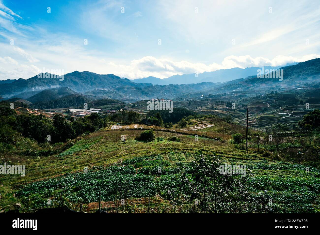 Black Hmong village and terrace rice fields in Winter on foggy and rainy day at Muong Hoa Valley in Sapa, vietnam. Stock Photo