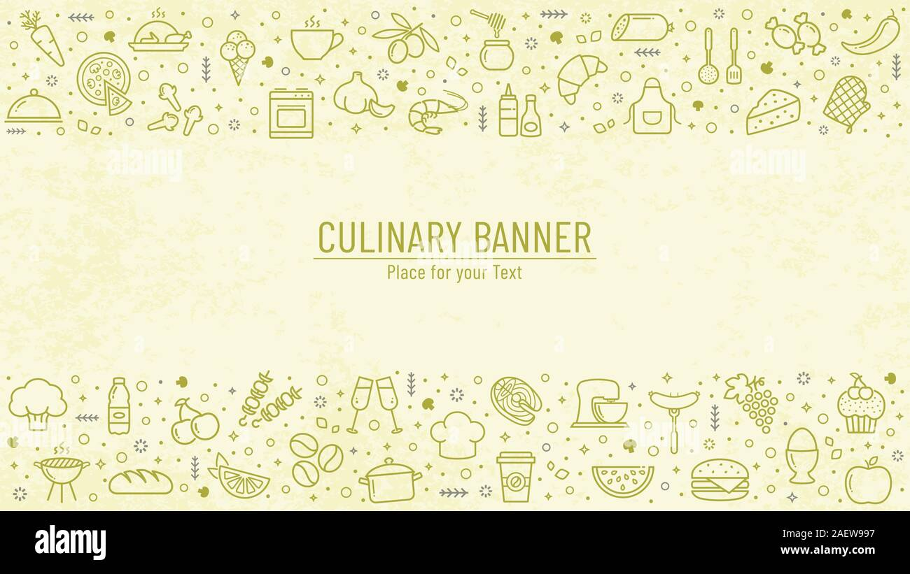 Cooking Banner With Food And Kitchen Line Icons And Copy Space Culinary Background With Place For Text Vector Illustration Stock Vector Image Art Alamy