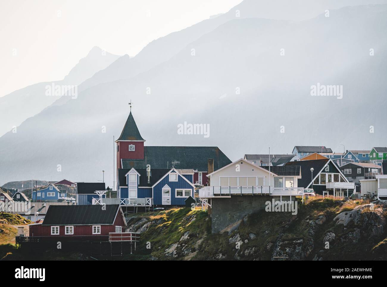 Colourful little Arctic town Sisimiut in Greenland,Qeqqata Municipality, aka Holsteinsborg . Second largest city in Greenland. Overview of port area Stock Photo