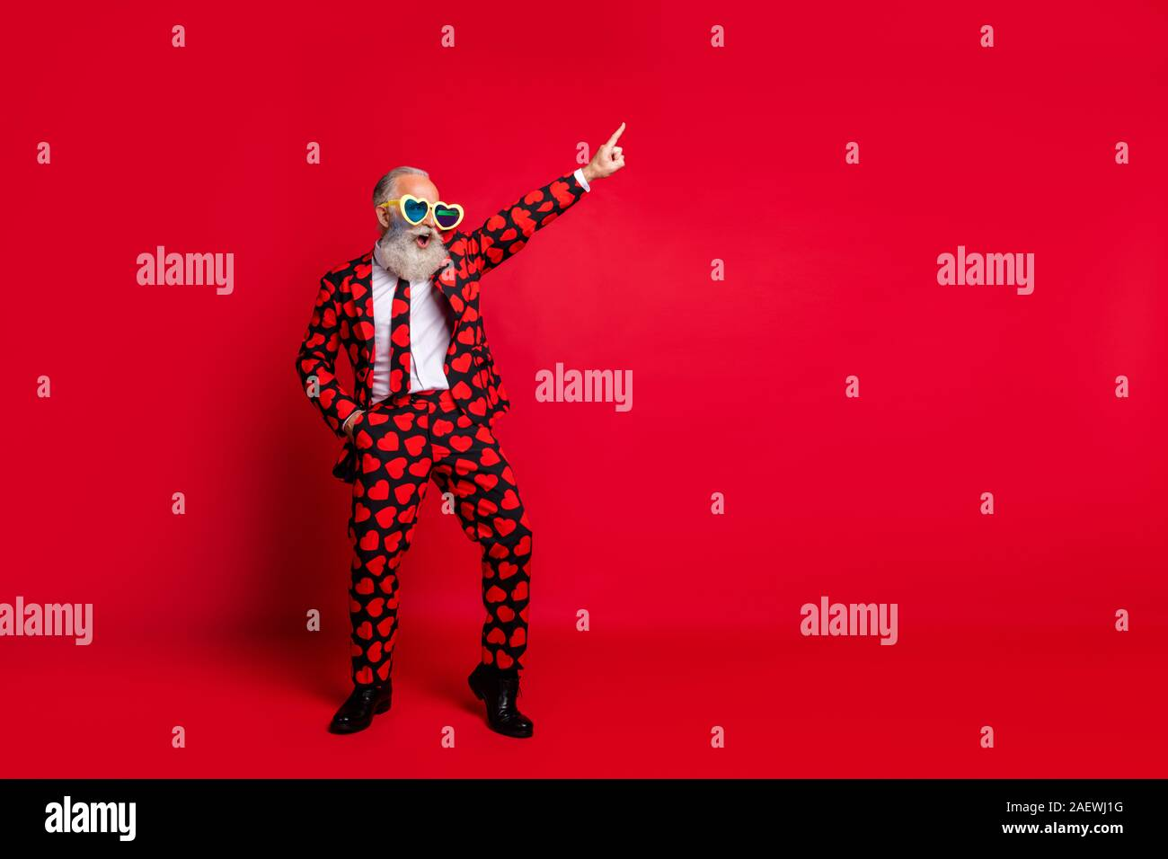 Full length body size view of his he nice attractive trendy crazy cool cheerful cheery white-haired guy dancing having fun clubbing isolated on bright Stock Photo