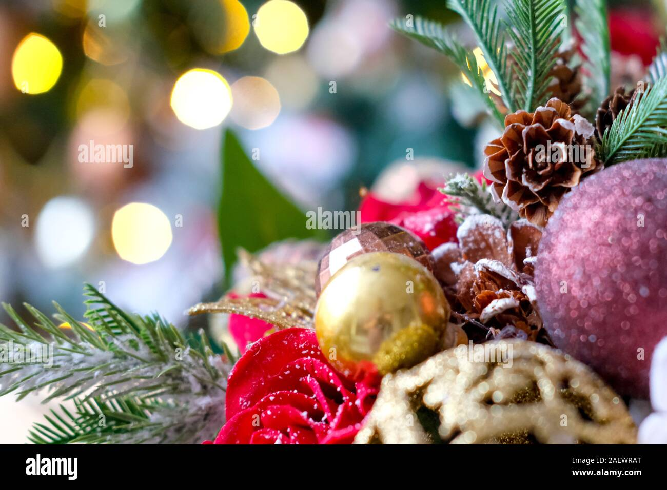 New Year Card With Christmas Tree Red Rose Gold Ribbon And Fir Cones Holidays Winter And Celebration Concept Place For Text Stock Photo Alamy