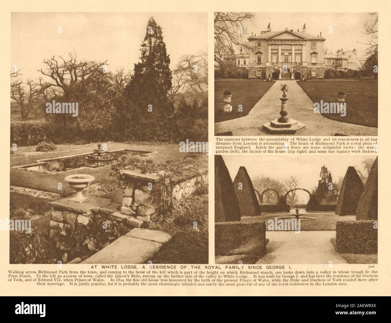Richmond Park White Lodge Royal Residence Since George I 1926 Old Print Stock Photo Alamy