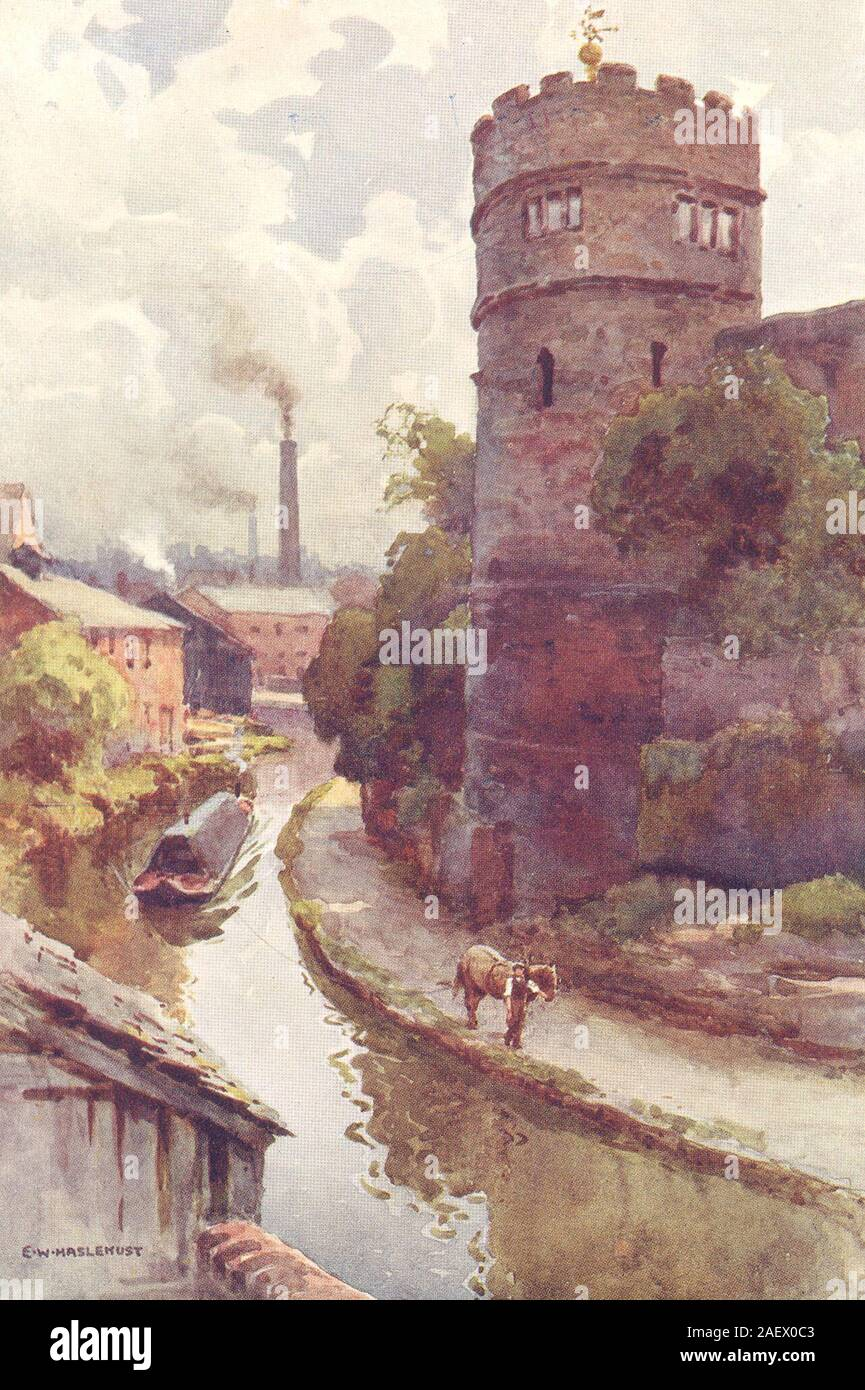 By Ernest Haslehust 1920 London The Tower Buttresses Stanmore Old Church