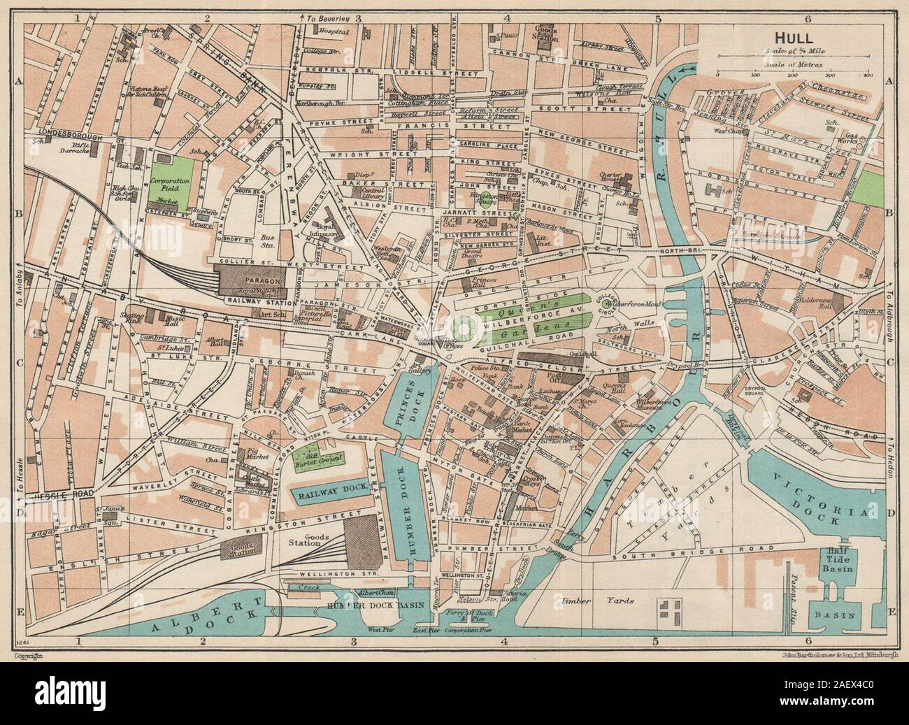 York Town Plan 1924 old vintage map chart YORKS