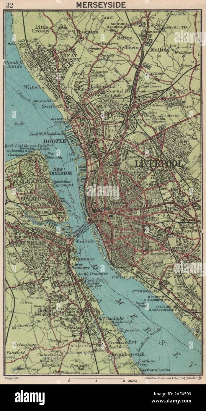 BIRKENHEAD.Claughton,Somerville,Bidston Dock,Egremont,Liscard,Wallasey 1935 map