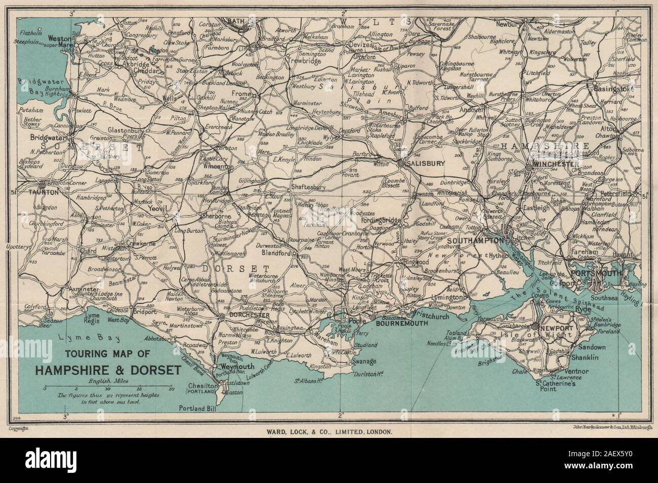 map of wiltshire and hampshire Touring Map Of Hampshire Dorset Wiltshire Somerset Ward Lock map of wiltshire and hampshire