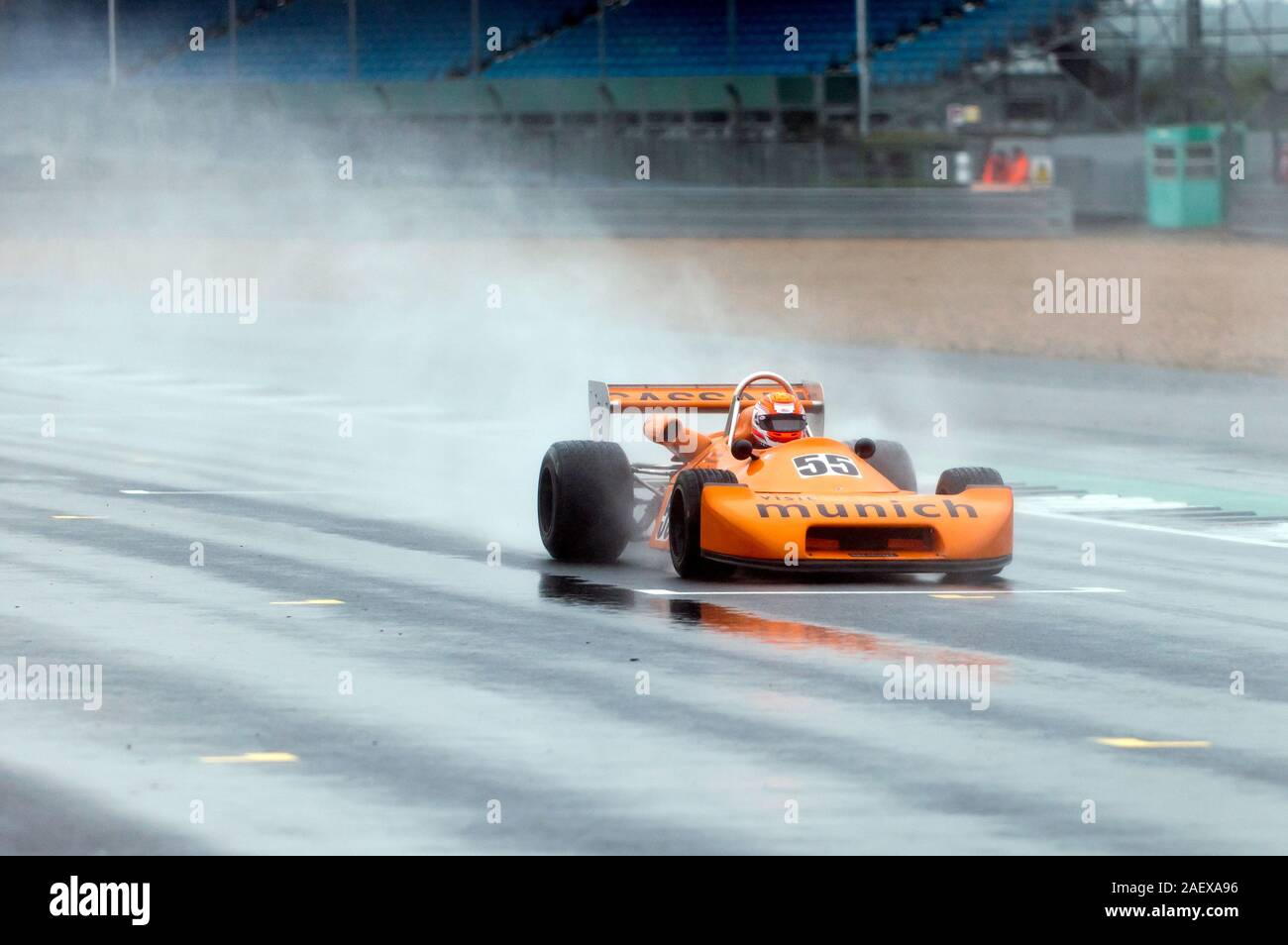 Stephen Futter driving his Orange, 1978, Ralt RT1, in the rain, during the HSCC Historic Formula 2 Race ('67 - '78), at the 2019 Silverstone Classic Stock Photo