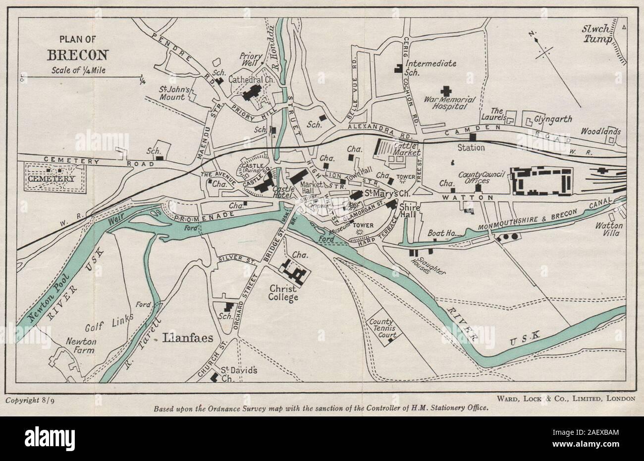 Menai Bridge WARD LOCK 1950 old map Wales BANGOR vintage town//city plan