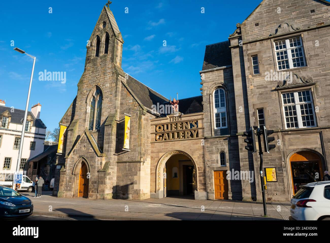 Exterior of the Queen's Gallery, part of the Palace of Holyroodhouse complex, on Cannongate in Edinburgh, Scotland, UK Stock Photo
