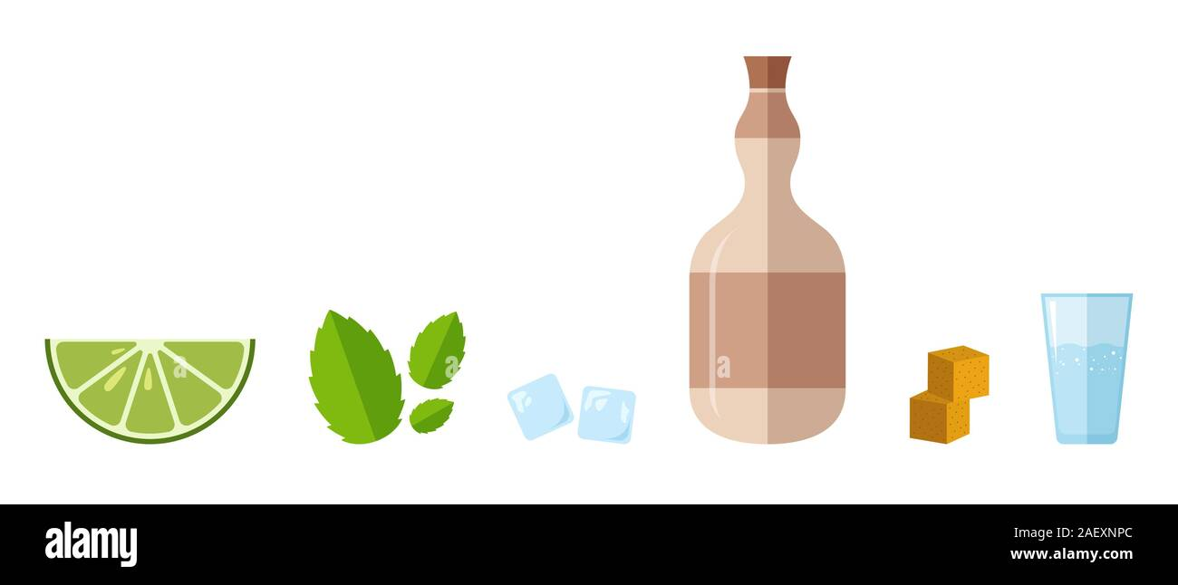 Popular alcoholic cocktail Mojito, ingredients in flat style. Pastel colors. Vector illustration. Suitable for bar and restaurant menus, cocktail. Stock Vector