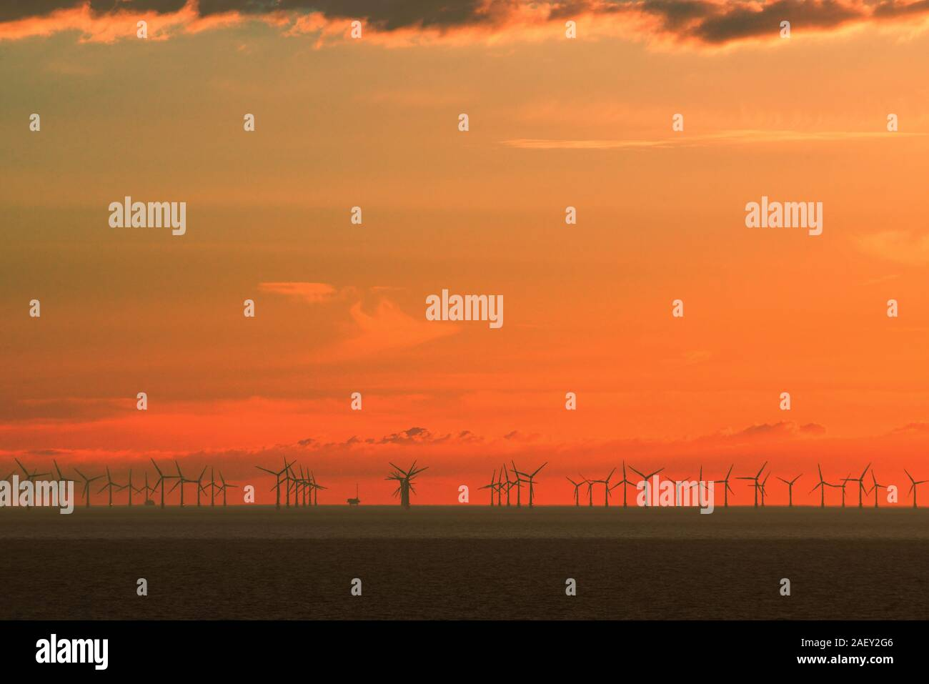 An offshore wind farm in the North Sea at sunset. Stock Photo