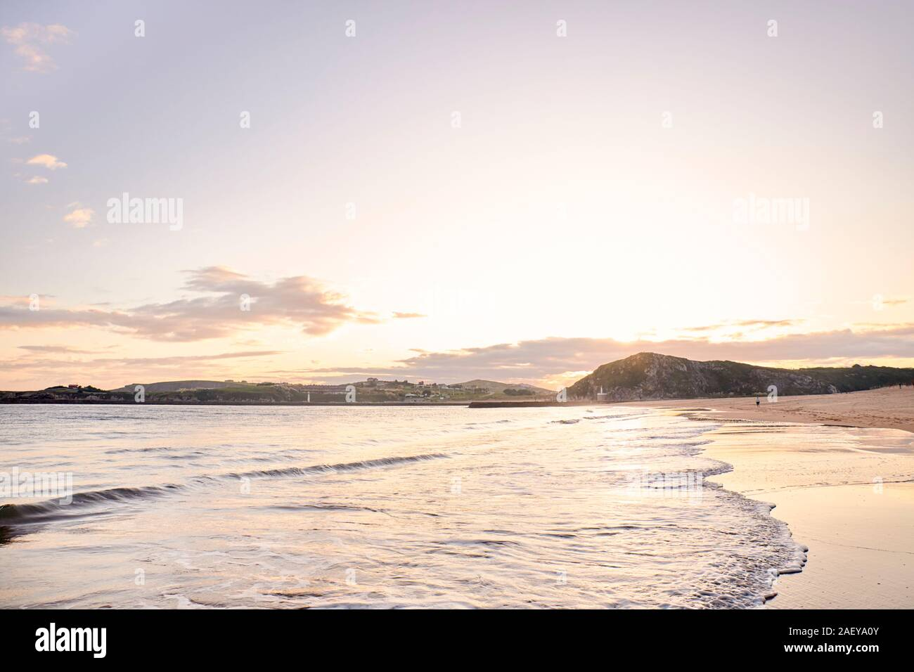 View of a beach at dawn in northern Spain. concept tourism and nature. Stock Photo