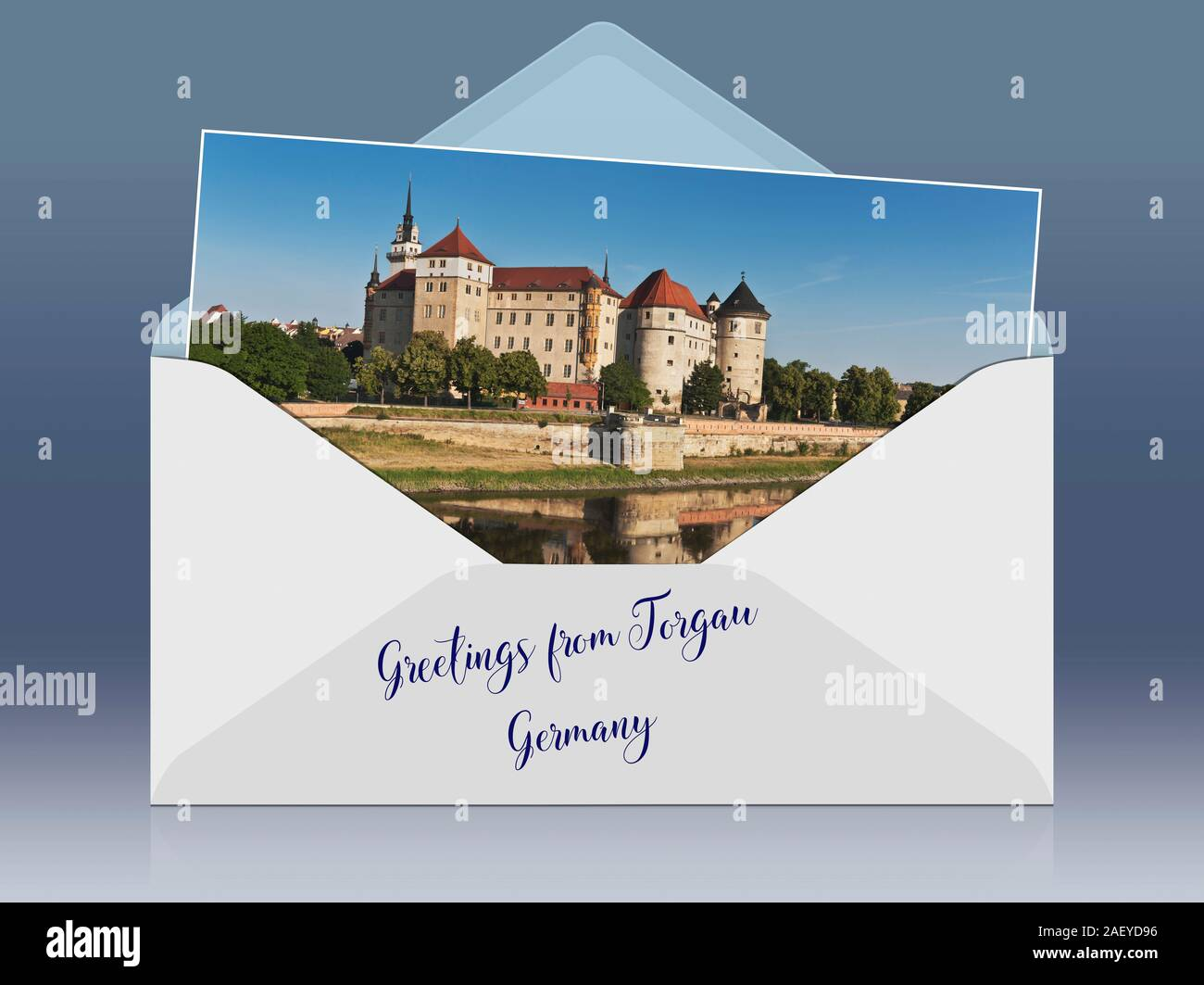 View over the Elbe river to Hartenfels Castle, Torgau, administrative district Northern Saxony, Saxony, Germany, Europe Stock Photo