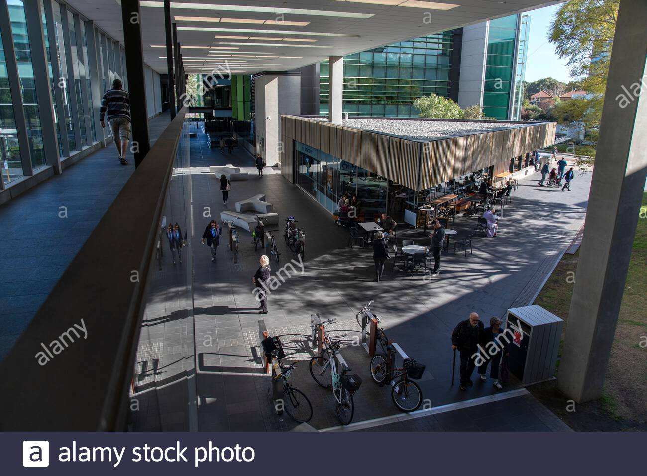 Main Entry Concourse to Fiona Stanley Hospital with Café Stock Photo