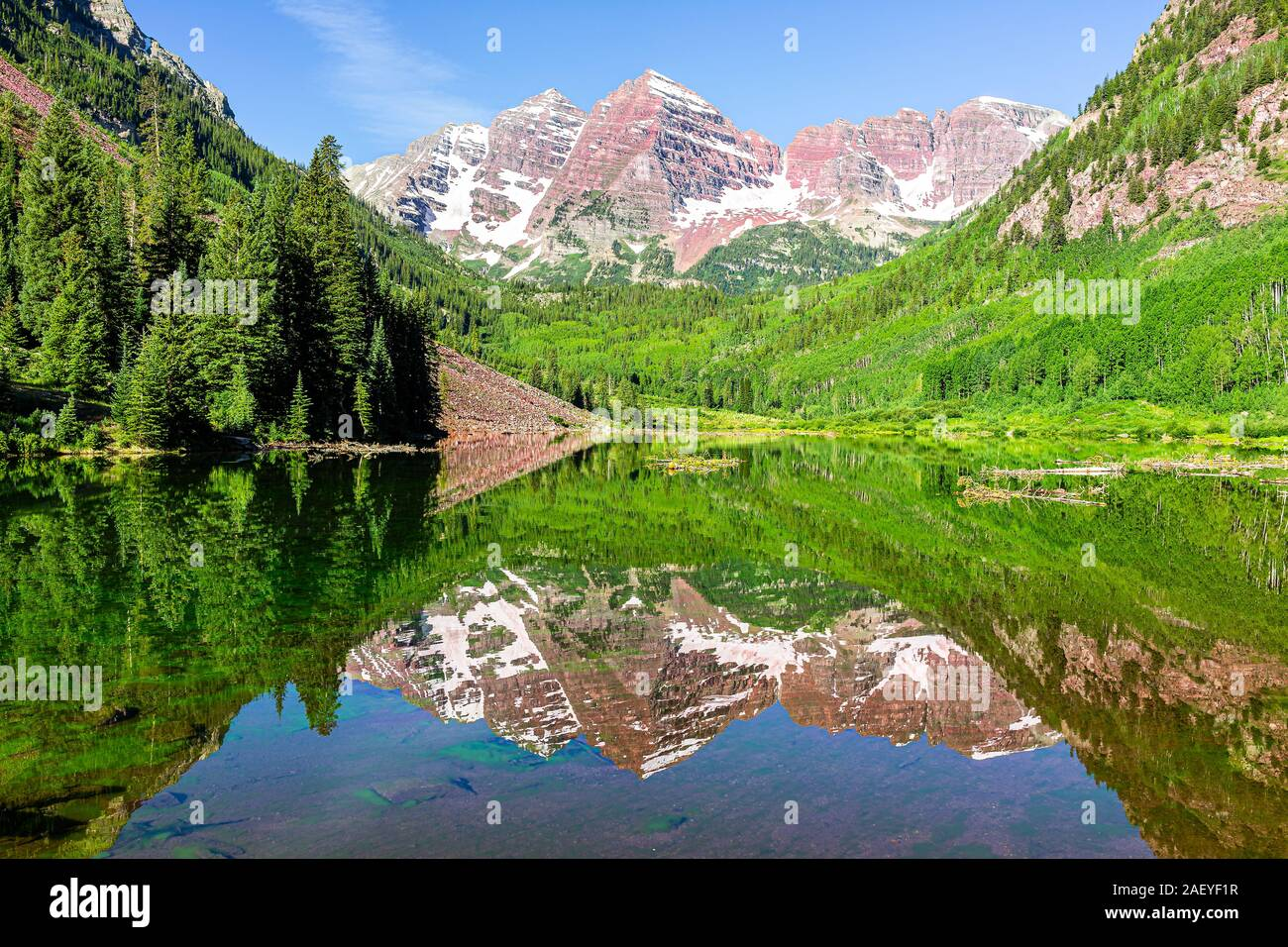 Maroon Bells Lake Mirror Reflection During Day View In Aspen